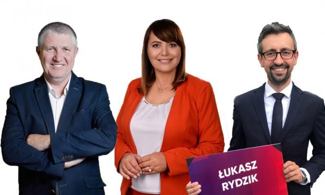 Od lewej Zdzisław Zadworny, Teresa Pamuła, Łukasz Rydzik