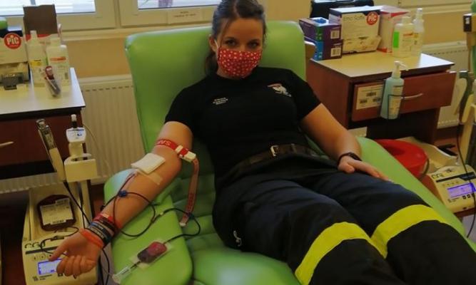 Strażacy z Cieszanowa oddają krew fot. OSP Cieszanów