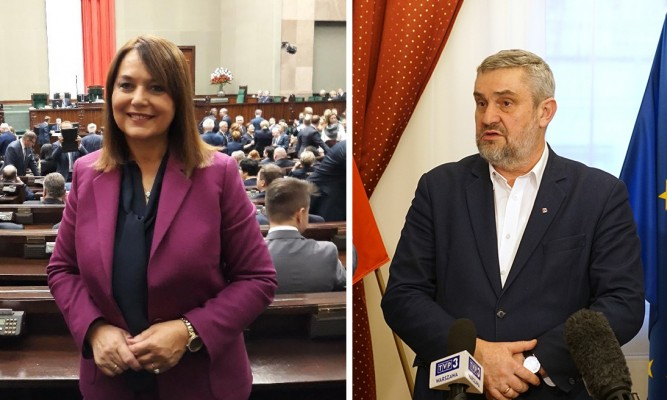 Poseł Teresa Pamuła oraz minister Jan Krzysztof Ardanowski.  Przedstawicielka naszego powiatu w Sejmie jest inicjatorką wyjazdowego posiedzenia Komisji Rolnictwa